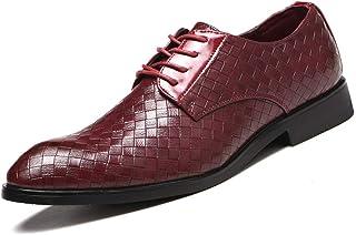 Men's Plus Size Plaid Oxford Shoes Formal Shoes (Color : Claret, Size : 44)