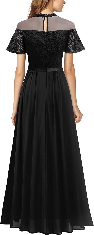 Miusol Women's Elegant See-Through Floral Lace Bridesmaid Maxi Dress