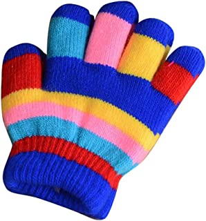 Winter Warm Mittens for Kids, Colorful Five-Finger Gloves(2-6 Years Old), E03