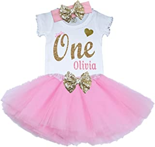 Girl First Birthday Tutu Outfit Pink and Gold Personalized 1st Glitter Dress Set