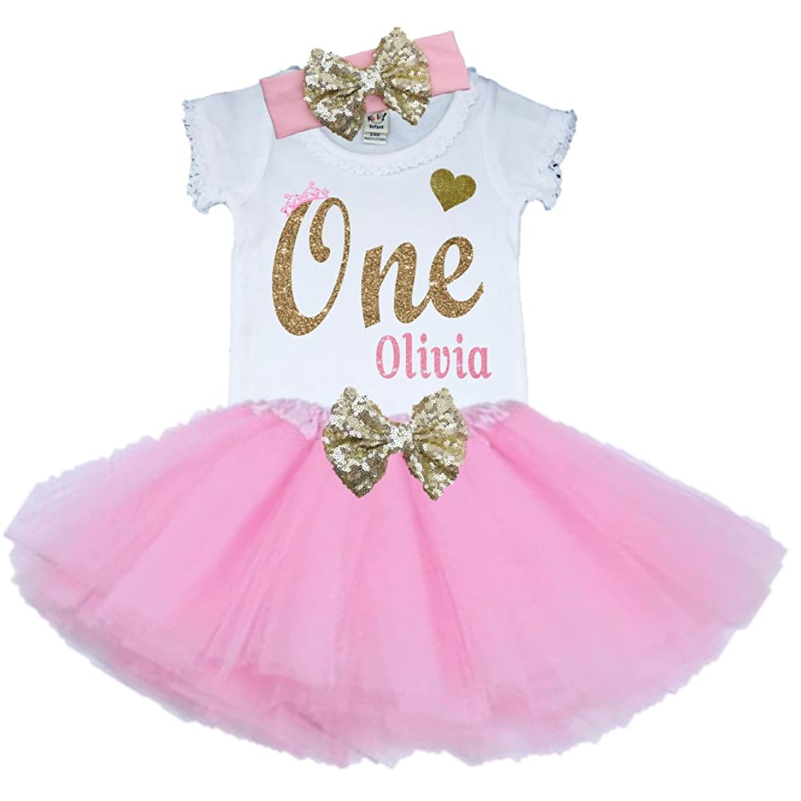Bella Fashion Kidz Girl First Birthday Tutu Outfit Pink and Gold Personalized 1st Glitter Dress Set