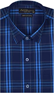 ACCOX Men's Half Sleeves Formal Regular Fit Cotton Check Shirt(Multi,GC158)