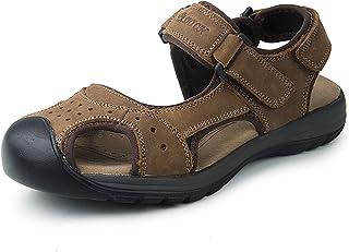 صندل MarsRoad للرجال للمشي في الهواء الطلق مع دعم قوس القدم، أحذية رياضية من الجلد، أحذية صيفية للصيادين المائية، صنادل يس...