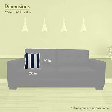 """Majestic Home Goods 85907220822 Vertical Stripe Indoor/Outdoor Pillow, 20"""" x 8"""" x 20"""", Navy Blue"""