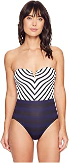Womens Channel Surfing Mitered Bandeau One-Piece