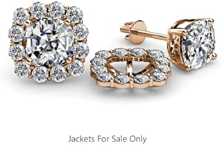 Rolex Jewells 0.70 ct tw Round Cut Stone in Rose Gold Finish Halo Jacket for Cushion Cut Stud Earrings