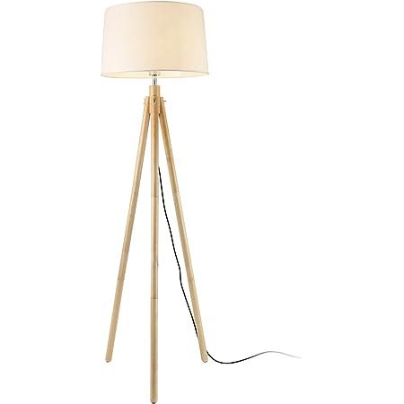 lux.pro Lampadaire Lampe à Pied avec Abat-Jour Bois Métal Tissu Effet Bois et Blanc 153 cm