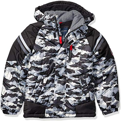 LONDON FOG Boys' Little Active Puffer Jacket Winter Coat, Super Grey Camo, 5/6