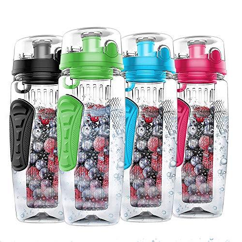 Nomisty Wasserflasche mit Fruchteinsatz,1000ML Fruit Infuser Sports Trinkflasche BPA-Frei mit Kühlung Obst Flasche (Grün)