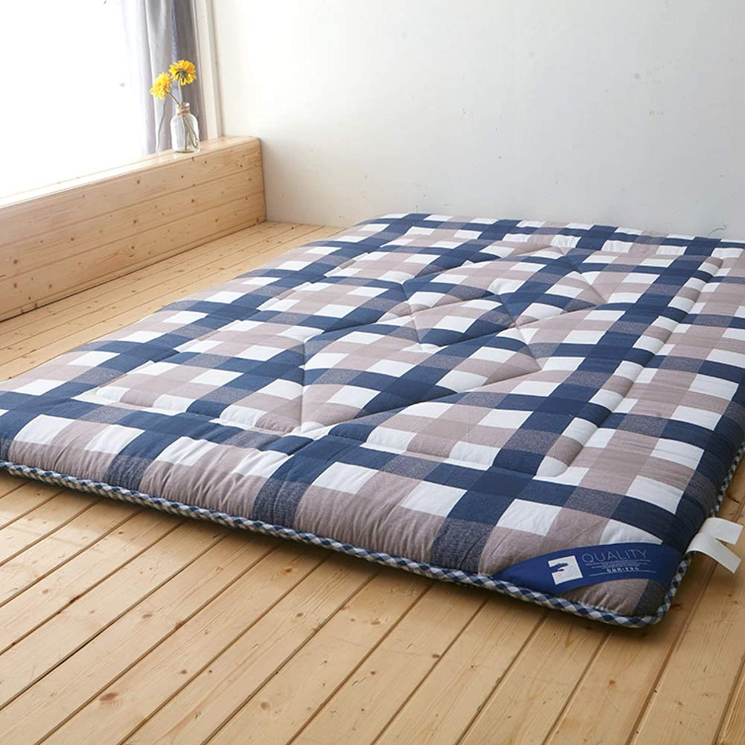 Cotton Tatami Sleeping Floor pad Mat, Foldable Light Breathable Mattress Topper Roll up Japanese Style for Living Room Dorm Student-C 90x200cm(35x79inch)