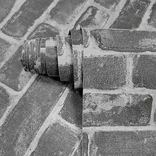Möbelaufklebe Grau Ziegelmauer 45 X 300cm Ziegelstein Tapeten Grau Selbstklebende Steintapete Möbelaufkleber Stein Mauer Küchenrückwand Wohnzimmer Schrank Möbelfolie Vinyl Für Folie