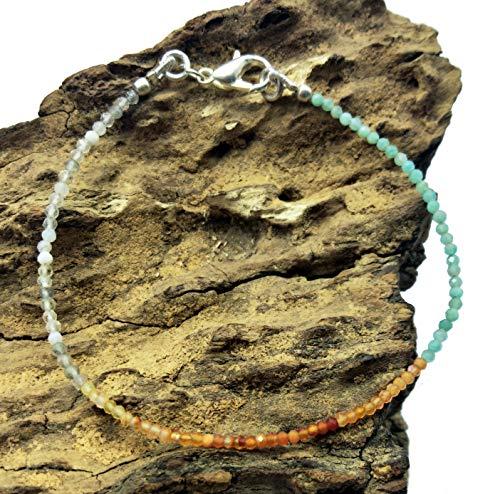 LOVEKUSH Armband Edelsteine Schmuck 75% Rabatt, Loser Edelstein Kristall Quarz Karneol Aquamarin Armband versilbert 2 mm Rondelle & facettiert 17,8 cm lang. BG20