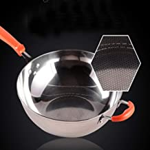 LJBH Pan,304 Stainless Steel Uncoated Wok, 12.8 Inch Flat Bottom Non-stick Wok, Induction Cooker And Gas Stove Can Be Used...