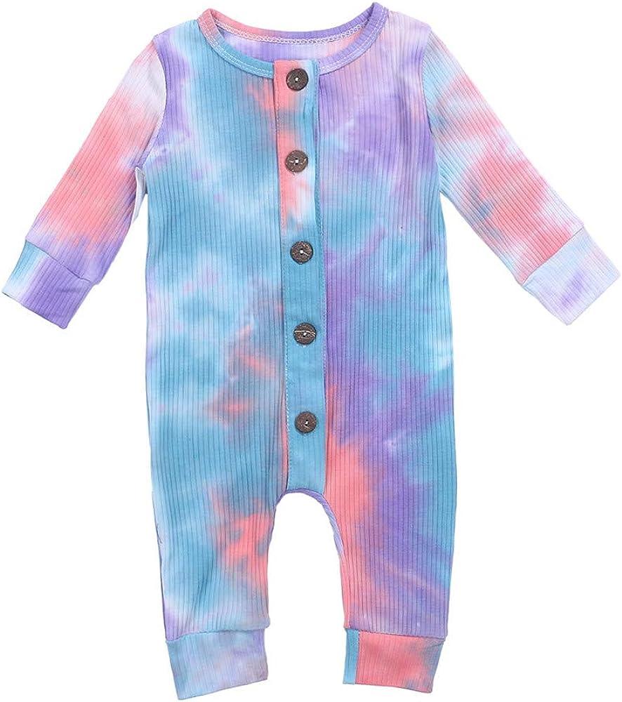 wybzd NewbornBabyBoyGirl TieDyeRomperBodysuit Long Sleeve ButtonJumpsuitOnePiece Pajamas OutfitFallClothes