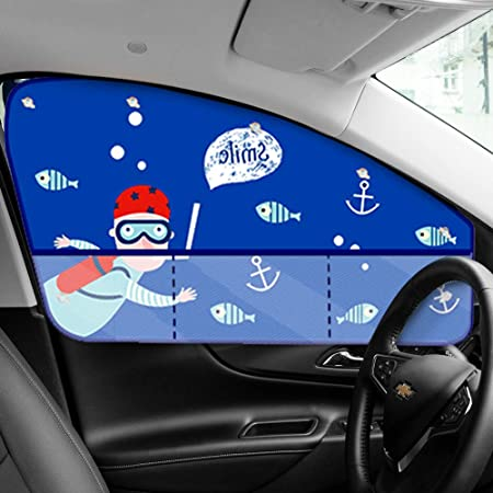Car Window Shades for Baby Backseat, Sea Car Sun Shade Universal Fit-Protect Your Baby Kids from UV Rays-Strong Suction Cup