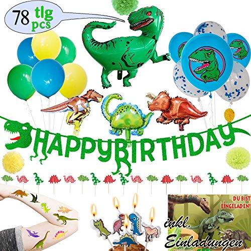 LumeeStar Dinosaurier Party-Set Geburtstagsdeko Girlande Folienballon Einladungskarten Kerzen Cupcake Topper Tattoos