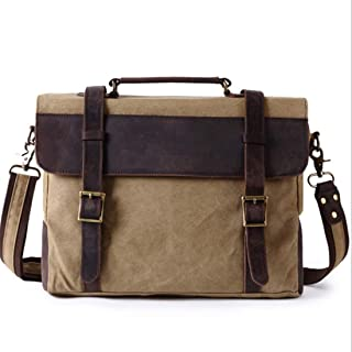Mens Bag Office Vintage Style Backpack Handbag Casual Business Briefcase Shoulder Messenger Crossbody Satchel Bag,Black/Fuchsia/Green/Khaki High capacity