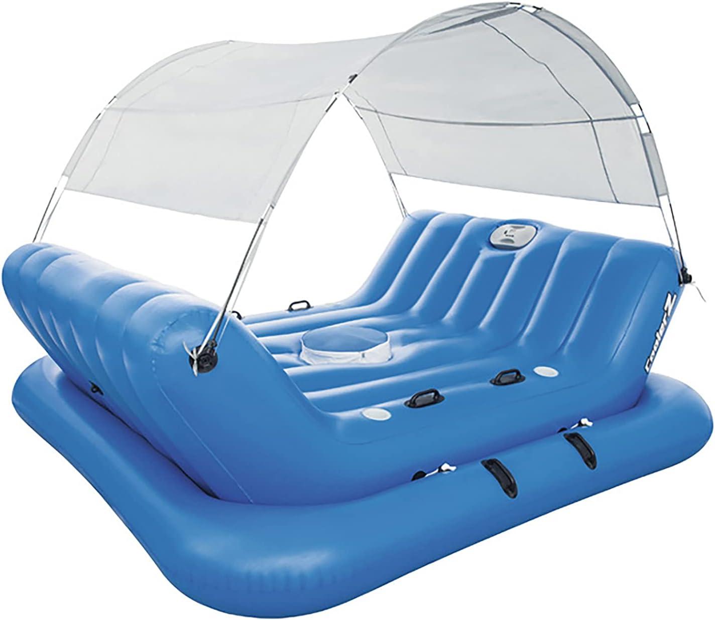 GW Colchoneta Piscina Adultos Flotadores Piscina Hinchables para Piscina Cama De Agua Flotador Puede Sentarse 4 Personas Azul