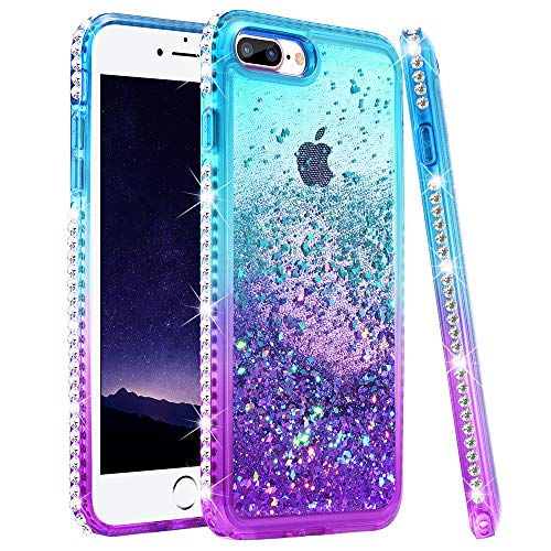 Ruky iPhone 7 Plus Case, iPhone 8 Plus Glitter Case, Colorful Quicksand Series Soft TPU Bling Diamond Flowing Liquid Floating Girls Women Case for iPhone 6 Plus 6s Plus 7 Plus 8 Plus (Teal Purple)