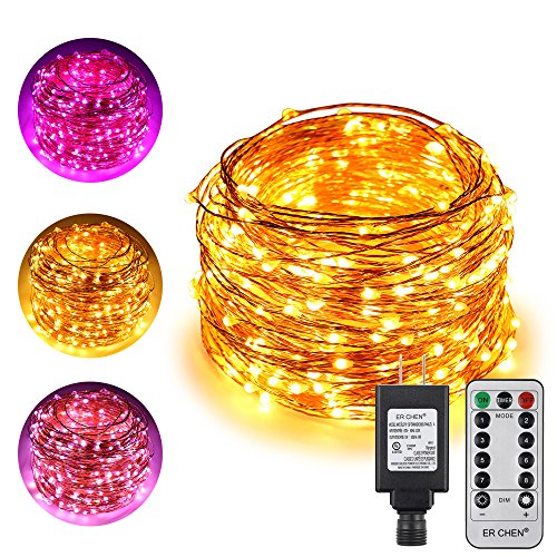 ErChen Dual-Color LED String Lights, 165 FT 500 LEDs Plug in Copper Wire 8 Modes Dimmable Fairy Lights with Remote Timer for Indoor Outdoor Patio Party (Purple/Warm White)