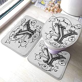 Rug Mat & Toilet Lid Cover Set Letter Y,Calligraphy Inspired Medieval Capital Letter Alphabet Symbol European Design, Black Grey White,Floor mats for Kids