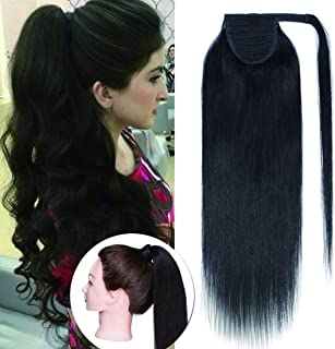 SEGO Wrap Around Ponytail Hair Extensions Human Hair Long Straight 100% Real Remy Hair Pony Tails Hair Extensions For Women #1B Natural Black 16 inches 80g