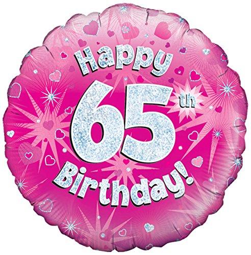 Oaktree UK 18 Happy 65. Verjaardag holografische folie design ballonnen, roze