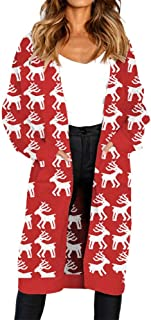 Womens Ugly Christmas Sweater Long Sleeve Hoodie Knitted Printing Pocket Cover Up Cardigan