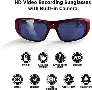 GoVision Apollo 1080p HD Camera Glasses Water Resistant Video Recording Sport Sunglasses - Maroon
