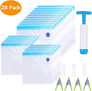 Sous Vide Bags, Kmeivol 20 Reusable Vacuum Sealer Pump Bags, Practical Plastic Bags for Sous Vide, BPA Free Sous Vide Pouches, 1 Hand Pump, 2 Bag Sealing Clips and 4 Sous Vide Clips