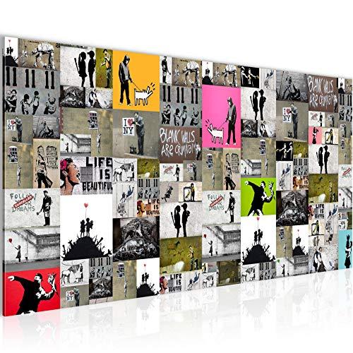 Bilder Collage Banksy Street Art Wandbild Vlies - Leinwand Bild XXL Format Wandbilder Wohnzimmer Wohnung Deko Kunstdrucke Bunt 1 Teilig - Made IN Germany - Fertig zum Aufhängen 302712a