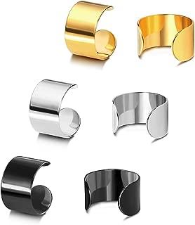 Earcuffs Stainless Steel Ear Cuffs Helix Cartilage Clip on Wrap Punk Earrings for Women Men Non Piercing Adjustable