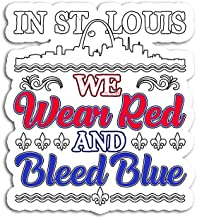 Hand Wooden Customizable Sticker in St Louis We Wear Red and Bleed Blue Stickers for Personalize (3 pcs/Pack)