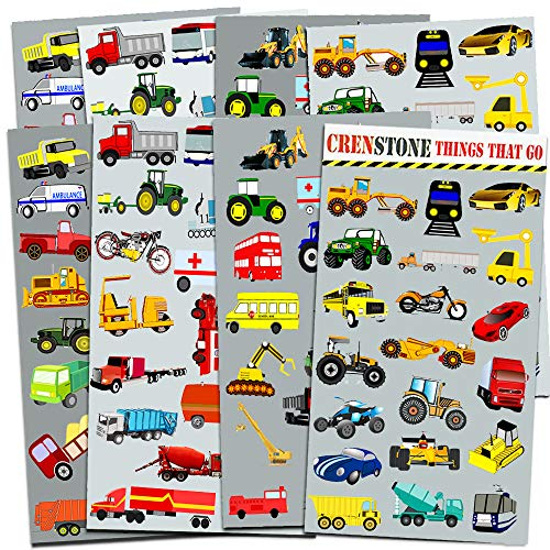 Cars and Trucks Stickers Party Supplies Pack Toddler -- Over 160 Stickers (Cars, Fire Trucks, Construction, Buses & More!)