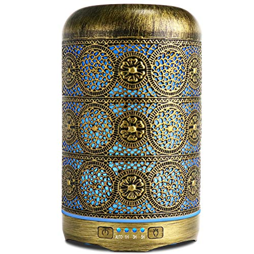 SALKING Humidificador Aceites Esenciales,260ml Difusor de Aromaterapia, Metal Humidificador Ultrasónico con 7 Colores,4 Configuraciones de Temporizador y Sin Agua Auto-Apaga, Regalo para Mujer