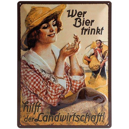 Nostalgic-Art 23162 Open Bar - Wer Bier trinkt hilft... Fräulein, Blechschild 30x40 cm