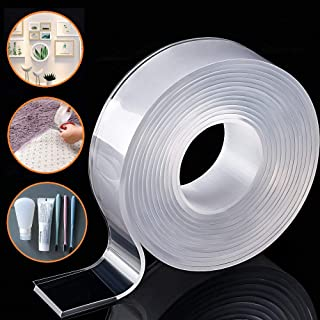Removable Adhesive Nano Gel Tape - Washable Strong Adsorption Double Sided Clear Silicone Traceless Tape for Wall,Kitchen,...