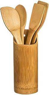 VITA PERFETTA 4 Ustensiles de Cuisines en Bambou - Cuillère, Spatule, Ecumoire, Cuillère à Trou avec 1 Pot