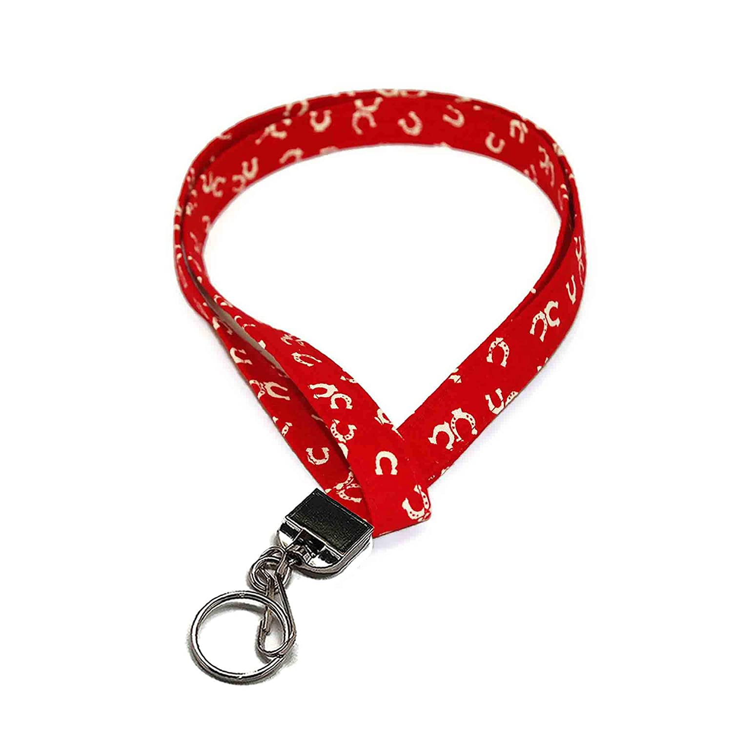 Horseshoe Red Fabric Lanyard for ID Keys or Max 63% OFF Max 41% OFF Clip with