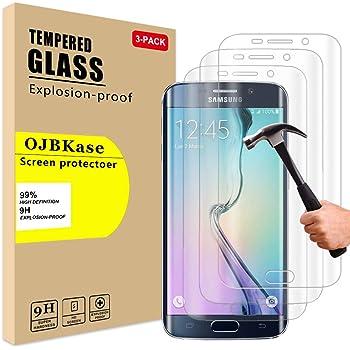 OJBKase [3 Pezzi Vetro Temperato per Samsung Galaxy S6 Edge, Anti-Graffio, Senza Bolle Trasparenza, 9H Durezza Ultra-Clear Pellicola Protettiva in Vetro Temperato, 2.5D Touch Compatible