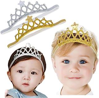 Baby Girl Super Elastic Headband Toddler Hair Band Soft Headwrap Crown Children Hair Accessories (gold/sliver)