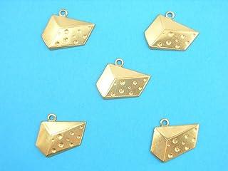 Boutique d'isacrea LOT 5 CHARMS METAL doré : gruyere 20mm - Pendentif décoratif en métal - DIY pour embellissements de bij...