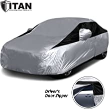 Titan Lightweight Car Cover. Compact Sedan. Fits Toyota Corolla, Nissan Sentra, and More. Waterproof Car Cover Measures 185 Inches, Includes a Cable and Lock, and Features a Driver-Side Door Zipper.