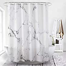 Zero Factory Shower Curtain Set Bathroom Fabric Fall Curtains Waterproof Grey and White Fabric Shower Curtain with Hooks Decorative Bathroom Accessories 72x72 Inches