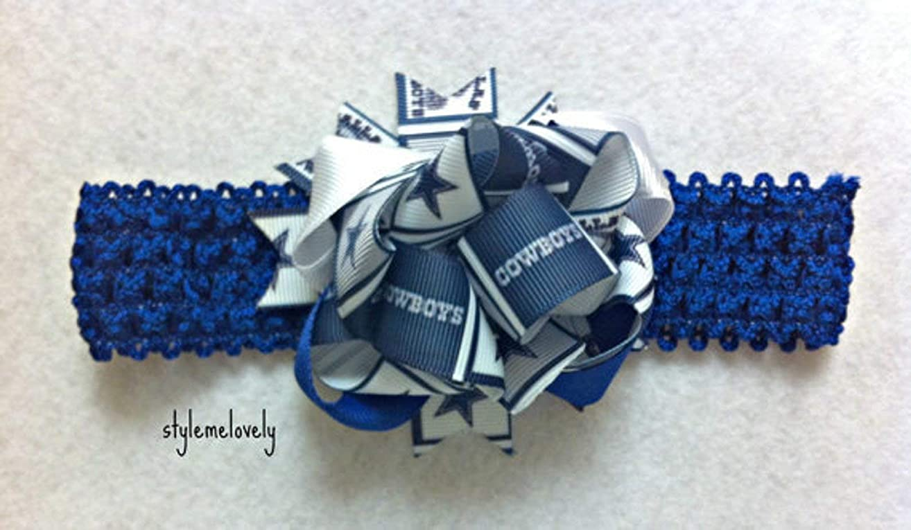 Dallas Cowboys Baby Girl Boutique Bow Crocheted Headband