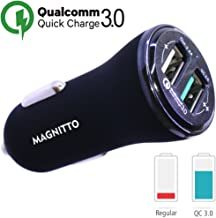 MAGNITTO Fast Car Charger Adapter 5.4A 30W Output Dual USB port 3A Smart IC 2.4A - Compatible Quick Charge 3.0 with Samsung Galaxy S9 S8 S7 Plus Note 9 8, iPhone X 8 7 6S 6, iPad Pro, LG V30 G5 G6 G7