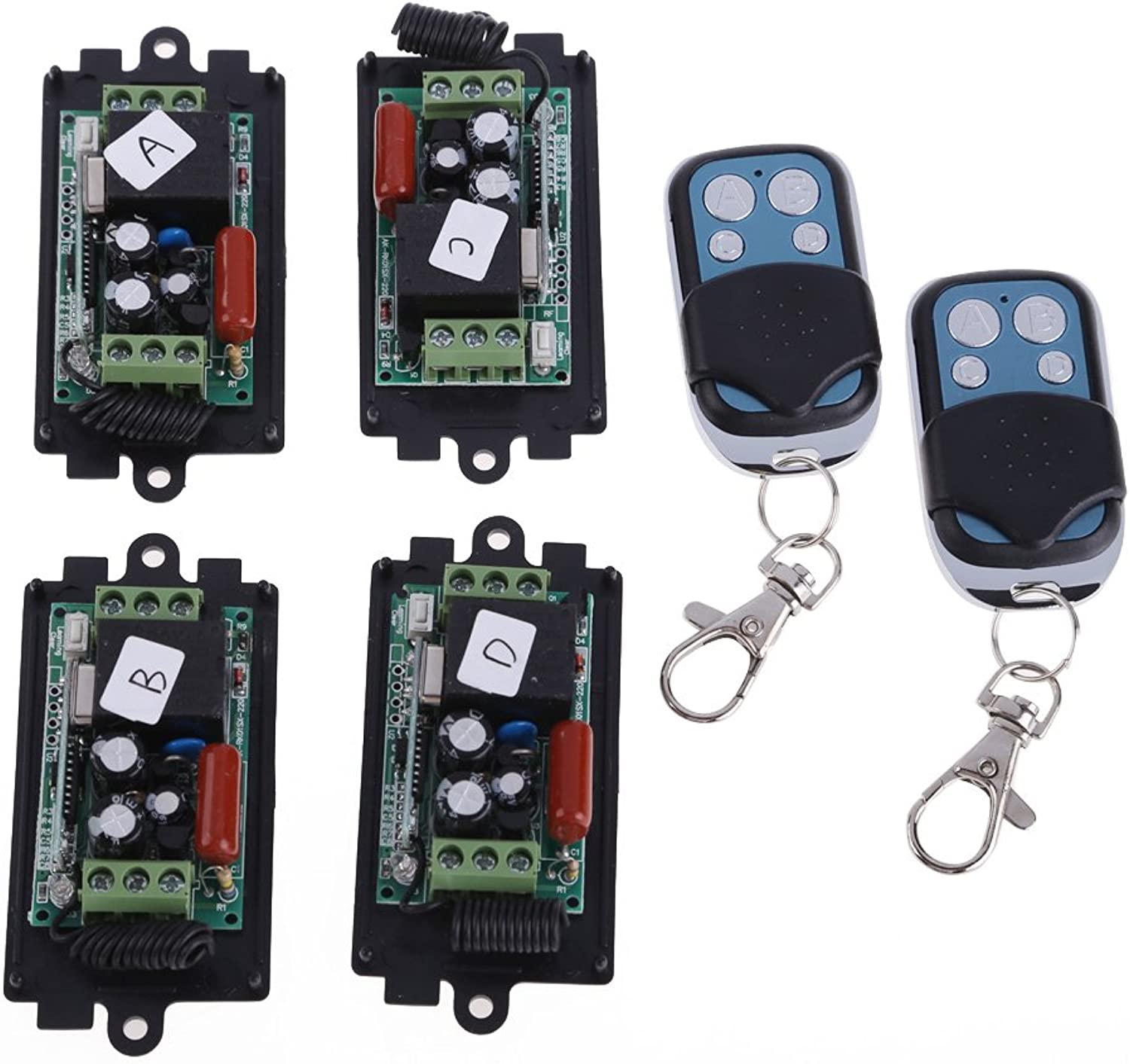 Calvas 4X AC220V RF Wireless Switch Relay Receiver 2X 1CH Remote Controllers Learning Code Remote