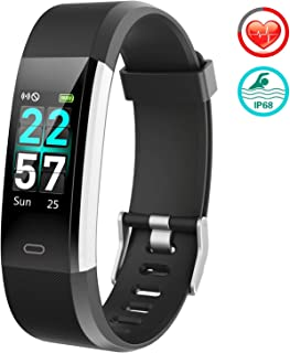 $59 » Fitness Tracker Activity Tracker Watch - 2019 Upgraded Color Screen IP68 with Heart Rate Monitor, Step Counter, Calorie Counter, Pedometer Watch with 14 Sports Modes for Women Men Kids
