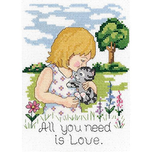 Janlynn 21-1746 All You Need is Love 5 by 7-Inch Counted Cross Stitch Kit, Mini