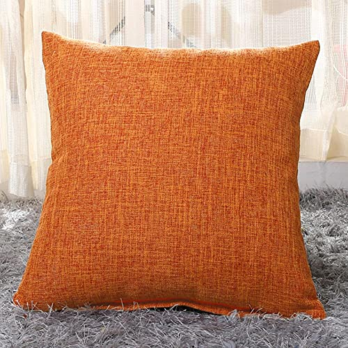 MU-PPX Linen Throw Pillow Cover Home Decorative Pillows for Sofa Cafe Solid Color Cushions Square Pillow Case,Orange,55x55cm